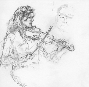 "From the exhibition ""The Pure Drop - drawings of Irish traditional musicians, singers and dancers by Carlotta Hester"". On view in Gallery 2 at the Gallery of Photography Ireland, Jan 26-Feb 21 2016. Supported by Stauntons on the Green and TradFest 2016. Free for use only in the context of review/preview of the exhibition"